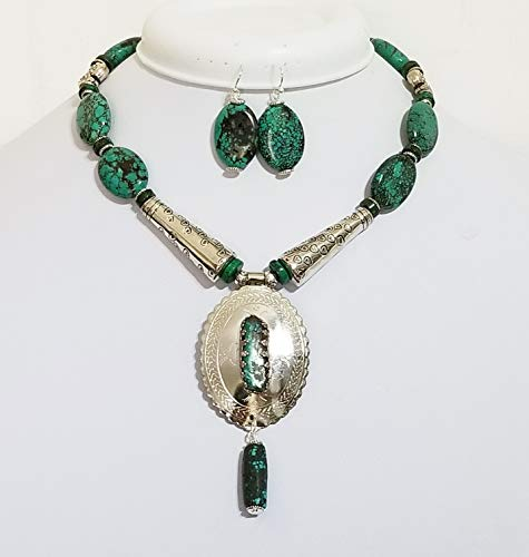 (Southwestern Style Old Pawn Pendant Turquoise Necklace Earrings One of a)