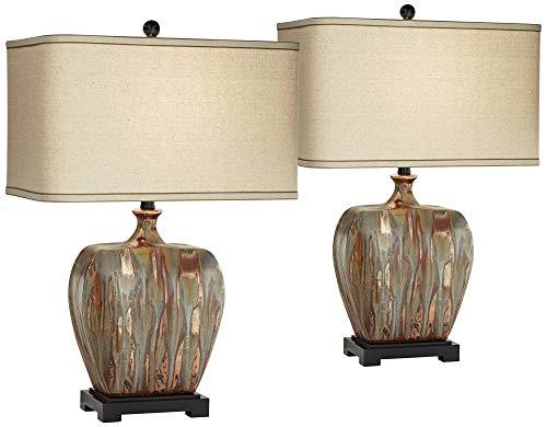 (Julius Modern Table Lamps Set of 2 Ceramic Copper Drip Rectangular Fabric Shade for Living Room Family Bedroom - Possini Euro Design)