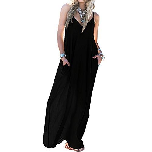 Skyblue-uk - Vestido boho para mujer, maxi vestido suelto, sin espalda, para la playa o noche Black#02