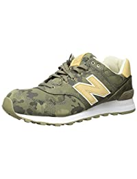 New Balance Men's 574 Cameo Pack Lifestyle Fashion Sneaker, Covert Green/Toasted Coconut, 7 D US