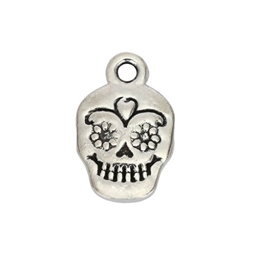10pcs x Dia De Los Muertos Skull Charms 13x10mm Antique Silver Tone #mcz1268