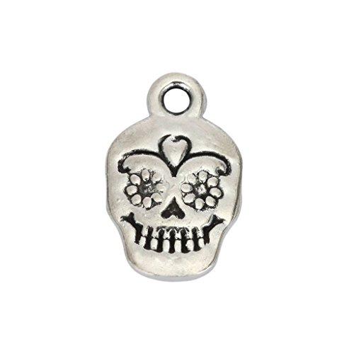 10pcs x Dia De Los Muertos Skull Charms 13x10mm Antique Silver Tone #mcz1268 ()