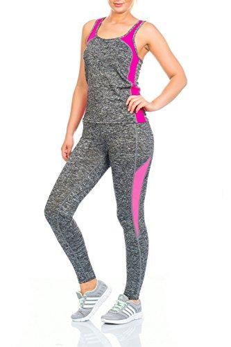 aristócrata Moda, damas deportes en forma Activo Entrenamiento Tops y pantalones Juego Lila - Larga