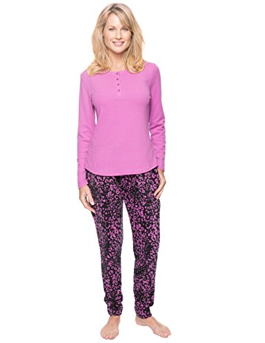 Noble Mount Women's Microfleece Lounge Set - Leopard Black/Purple - X-Large (Lounge Pants Leopard)
