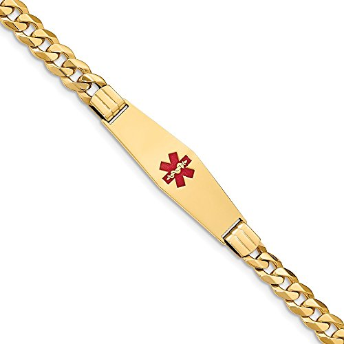 Jewelry Bracelets ID Bracelets 14K Medical Soft Diamond Shape Red Enamel Flat Curb Link ID Bracelet