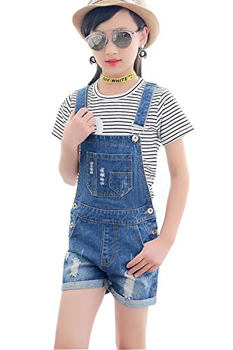 (LAVIQK Girls Little Big Kids Denim Bib Overalls Jumpsuit Boyfriend Jeans Denim Romper Shortalls Blue )