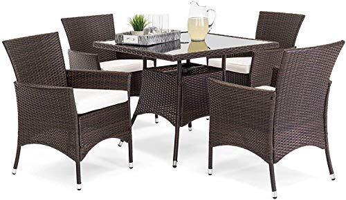 OAKVILLE FURNITURE 61205 5-Piece Patio Set Square Glass Top Dining Table with Standard Umbrella Hole 4 Outdoor Chairs, Brown Wicker, Beige Cushion