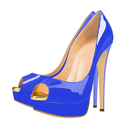 Platform Ubeauty Heels High Court Blue Womens Shoes With Peep Toe qRFO8x