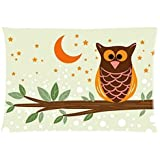 Owl Cotton Pillow Case Cover Standard Size 20x30 inch (one side)