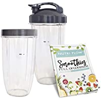 Cups for NUTRIBULLET 5 pc Set, 32 oz. Tall (2 Pack) with Flip Top To-Go Lid & Lip Ring + EXCLUSIVE Recipe Book - Best Quality NutriBullet Replacement Parts