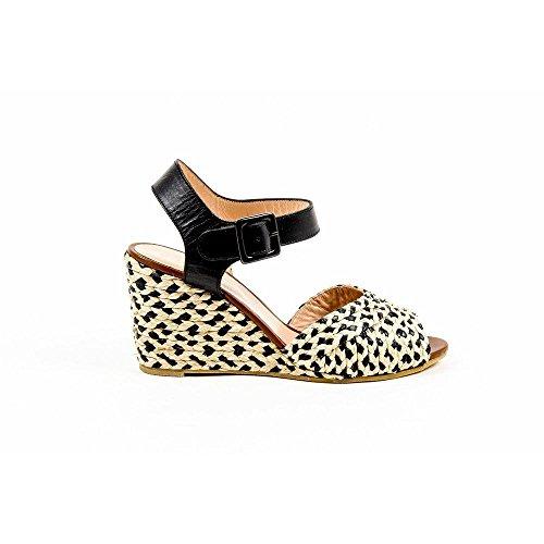 Robert Clergerie Paris Womens Ankle Strap Wedge Sandal DIZON PAILLE NAT VEG NOIR DBL PDR - Noir Nat