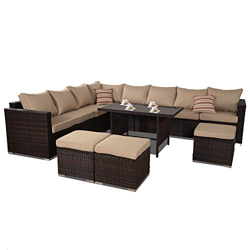 JETIME Patio Furniture Outdoor Conversation Set 9pcs Garden Seating Outside Couch Brown PE Wicker (Khaki)