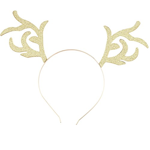 Reindeer Gold Tone (Lux Accessories Gold Tone Glitter Christmas Holiday Xmas Reindeer Headband)