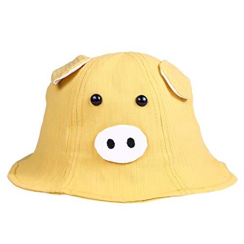 Sun Hat Baby Shusuen Spring Autumn 2019 Fashion Kids Accessories Boy Girl Cute Pig Cartoon Cotton Hat Yellow from Shusuen_baby