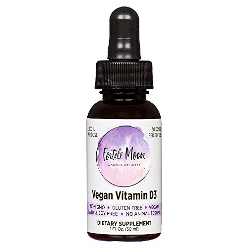 Liquid Vitamin D3 Vegan 2000 IU Per Dose by Fertile Moon® - Premium Plant-Based Vitamin D3 from Lichen - Non-GMO, No Gluten, Dairy, or Soy - 30 Doses per Bottle