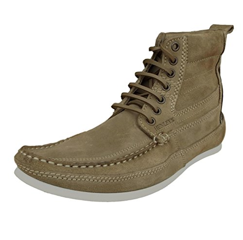 Henleys Men's Smokie Suede Leather Casual Boots in Brown Charcoal Brown CjZEW0