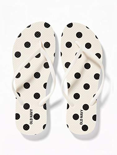 Old Navy Women Beach Summer Casual Flip Flop Sandals (8, Black Dots)