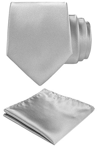 Solid color Neck tie.Pocket Square,Gift Box set. (Heather Grey)
