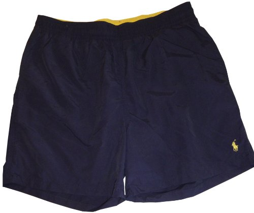 Polo by Ralph Lauren Men's Swim Trunks Navy with Yellow Pony, Medium