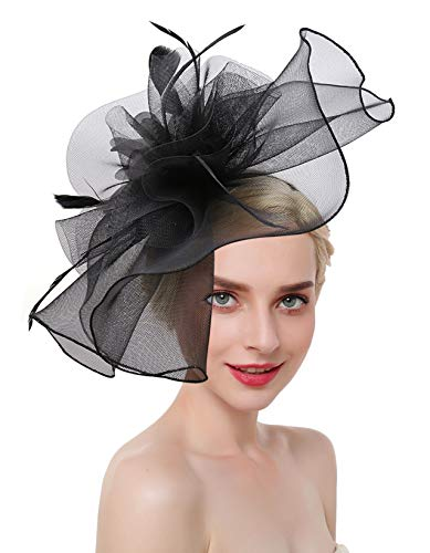Z&X Large Kentucky Derby Mesh Fascinator Hat with Clip Headband for Women Black