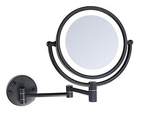 Wall Mount Makeup Mirror with LED Lighted Wall Mounted 5x Magnification,ORB Finish (8-inch,5x) by LeHang