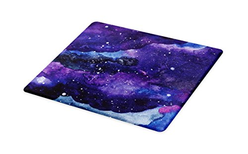 Lunarable Outer Space Cutting Board, Starry Night Sky Paint Strokes Galaxy Cosmic Universe Theme, Decorative Tempered Glass Cutting and Serving Board, Small Size, Navy Blue Pale Blue Purple