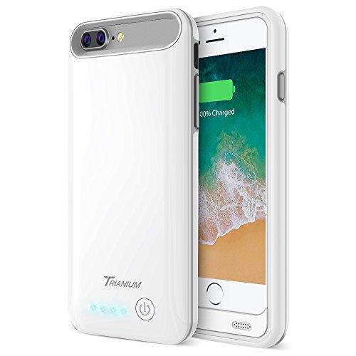 Trianium iPhone 8 Plus / 7 Plus Battery Case, Atomic Pro 4200mAh Extended Battery Charging Case Compatible with Apple iPhone 7 Plus and iPhone 8 Plus (5.5) [ White/Grey] Power Juice Bank Case