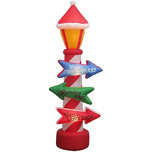 Gemmy Christmas Inflatable 8' Flashing Lights Candy Cane Lamp Post w/Santa Hat & Holiday Signs
