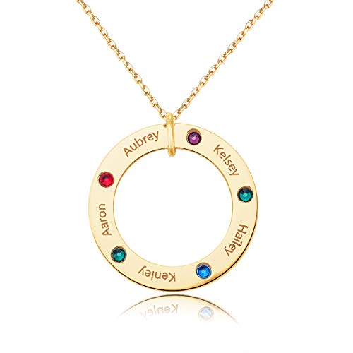 MeMoShe Family Name Necklace Personalized with Birthstone, Engraved Custom Circle Ring Nameplate Pendant for Grandmother