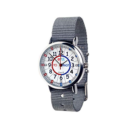 EasyRead Time Teacher Children's Watch, 'Minutes Past & to', Red, Blue, Grey Face/Grey Strap