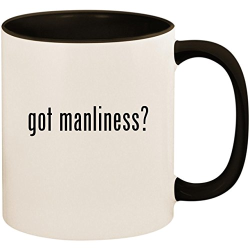 (got manliness? - 11oz Ceramic Colored Inside and Handle Coffee Mug Cup, Black)