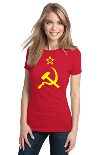 USSR HAMMER & SICKLE FLAG Ladies' T-shirt / Soviet Union, Communist Russia Costume Tee-Red-XXX-Large