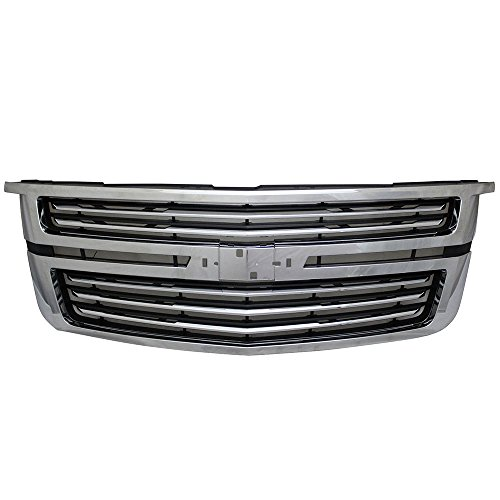 Grille Compatible With 2015-2017 Chevy Tahoe LTZ Style Chrome Front Bumper Grill Hood Mesh by IKON MOTORSPORTS 2016