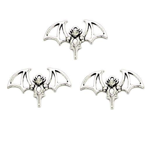 30pcs Vintage Antique Silver Alloy Flying Bat Charms Pendant Jewelry Findings for Jewelry Making Necklace Bracelet DIY 33x22mm(30pcs bat) (Bat Charms Pendants)