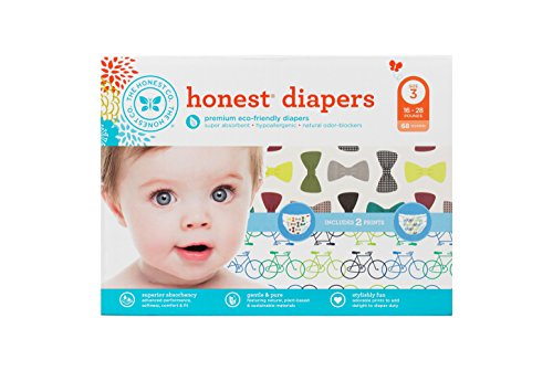 Honest Diaper Club Box, Bicycles & Bow Ties, Size 3, 68 Count by The Honest Company
