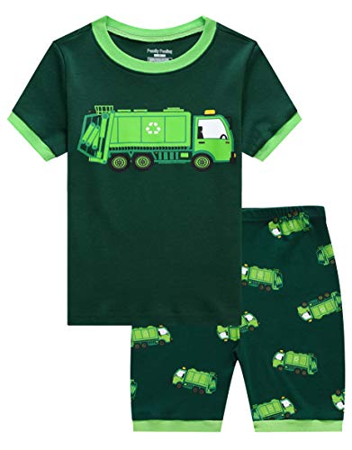 Family Feeling Little Boys Garbage Truck Pajamas Short Sets 100% Cotton Toddler Kid 4T