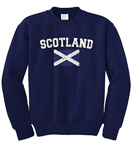 Cybertela Faded Distressed Scotland Flag Crewneck Sweatshirt (Navy Blue, ()