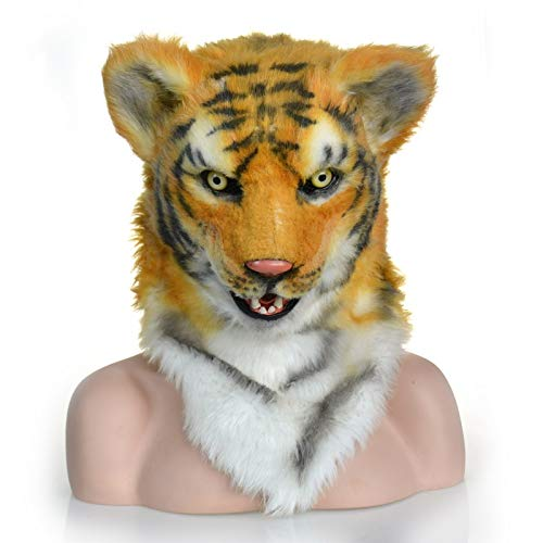 ZUAN Halloween Costume Theater Prop Tiger Head Mask Fur Tiger Headgear Novelty Fur Tiger LED Head Animals Mask (Color : Yellow, Size : 2525) -