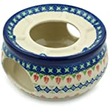 Polish Pottery Heater 6-inch Tulips And Diamonds