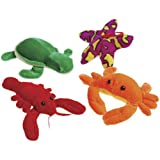 1 Dozen Adorable Plush Colorful Sea Creatures (4-6 inch) /Crabs / Lobsters / Sea Turtles / Starfish / Gift / Ocean Theme / Party / Prize
