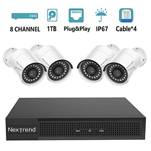 8 Channel 5MP PoE Security Camera System, NexTrend 4 X 5MP (2592 x 1920p) HD Security Camera, Plug&Play Security System with Pre-Installed 1TB Hard Drive for 7/24 Recording, Free APP & Night Vision
