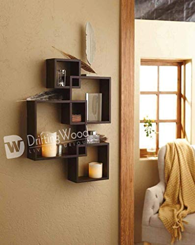 DriftingWood MDF Intersecting Wall Mounted Shelf for Living Room Home Decor Floating Shelves   Set of 4, Brown
