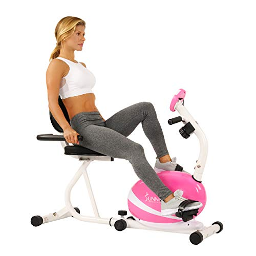 Sunny Health & Fitness Magnetic Recumbent Bike Exercise Bike, 220lb Capacity, Monitor, Pulse Rate Monitoring – P8400