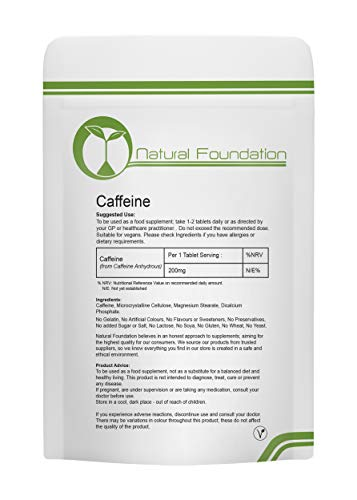 Caffeine 200mg Tablets Supplements for Weight Loss and Pre-Workout Energy Boost Fat Slimming Pills Energy | Natural Foundation Supplements (120)