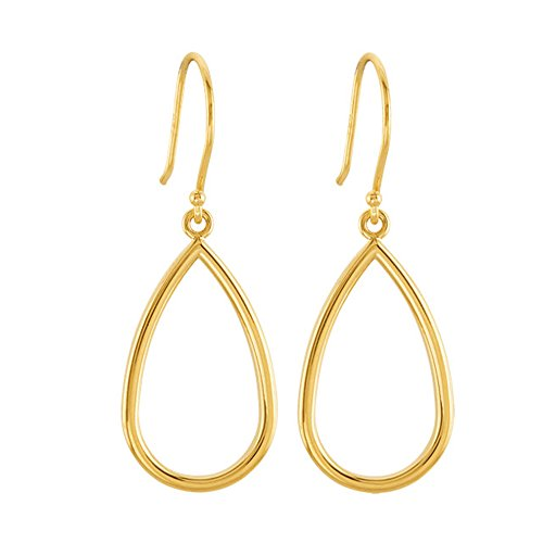 14K Yellow Gold Open Pear Teardrop Dangle Hook Earrings, 34mm x 13mm 14k Yellow Gold Teardrop Earrings