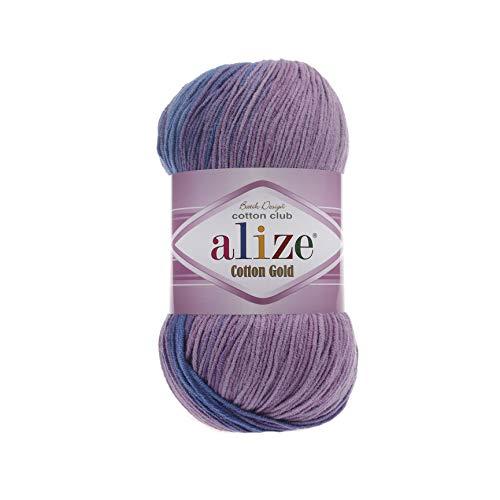 55% Cotton 45% Acrylic Yarn Alize Cotton Gold Batik Thread Crochet Hand Knitting Yarn Arts Crafts Lot of 4skn 400 gr 1444 yds Color Gradient 4531