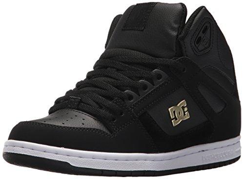 DC Women's Rebound High TX SE W Skate Shoe, Black/Gold, 8.5 B B US