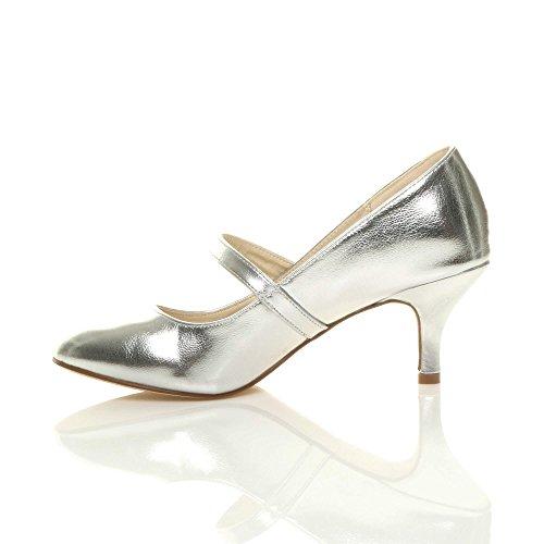 scarpe lavoro moda mary media jane Metallizzato taglia festa tacco Donna elegante di Argento A1Sqnww0