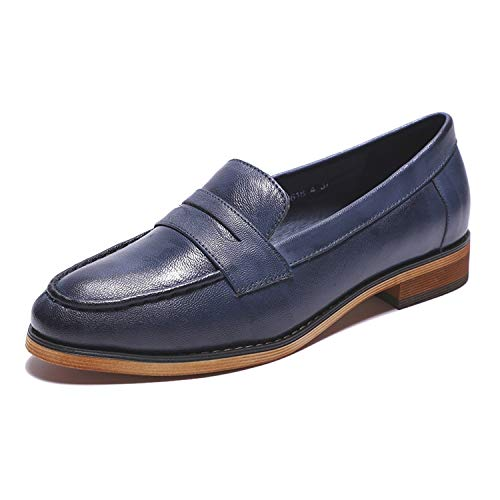 Mona flying Womens Leather Penny Loafer Casual Flat Shoes for Women Ladies Girls Blue