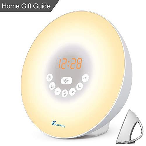 Sunrise Alarm Clock Heavy Sleepers, Vansky 2018 Version Wake Up Light Digital Clock Multi-Colorful Night Light Bedside Lamp Snooze Function, 6 Nature Sounds, FM Radio, Brightness Adjustable